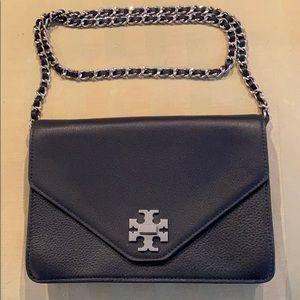 Tory Burch Navy & Green Leather Handbag